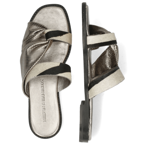 Mules Elodie 41 Hairon Zebra Wide Black White Metallic Nappa Gunmetal