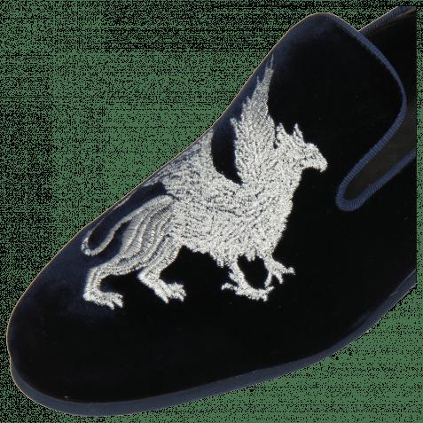 Mocassins Scarlett 37 Velluto Midnight Nappa Black Embroidery Dragon