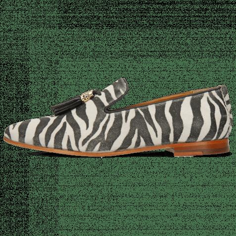 Mocassins Scarlett 20 Suede Zebra Off White Tassel