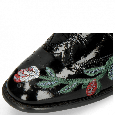 Derbies Eddy 38 Soft Patent Black Embroidery Flowers