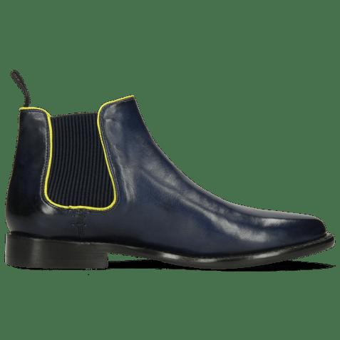 Bottines Selina 48 Pavia Navy Binding Fluo Yellow