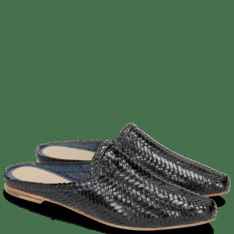 Mules Joolie 17 Woven Haring Bone Navy