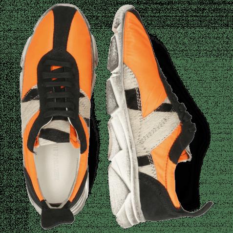 Sneakers Briana 1 Suede Black Funky Orange Hairon Wide Zebra