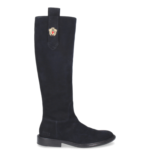 Bottes Sally 63 Suede Navy Embrodery New HRS Thick