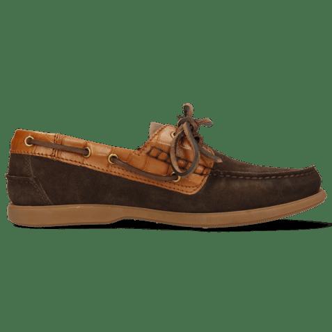 Chaussures bateau Jason 1 Suede Pattini Dark Brown Venice Turtle Tan