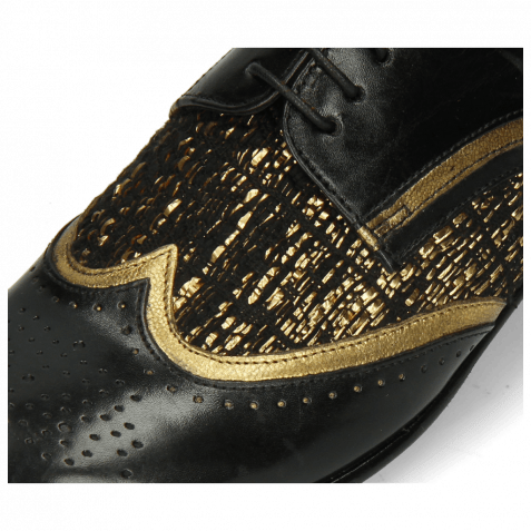 Derbies Sally 15 Black Venito Gold Textile Tweed Black Gold