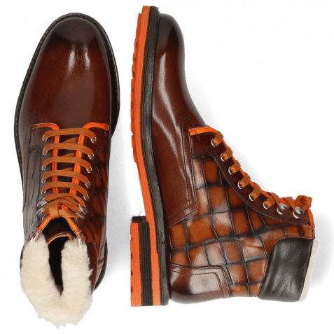 Bottines Trevor 35 Mogano Fluo Orange Turtle Wood Fur