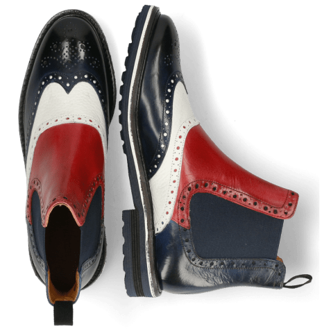 Bottines Amelie 24 Navy Milled White Ruby