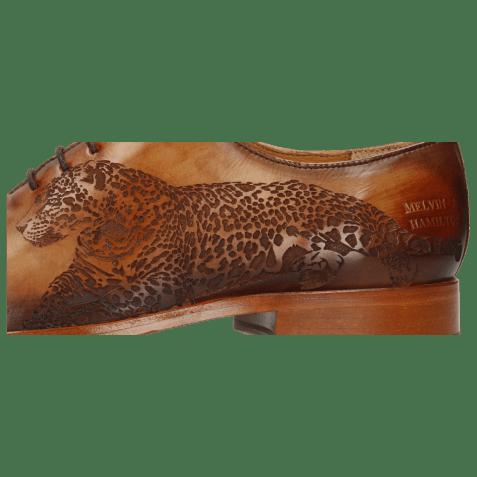 Richelieu Lewis 37 Tan Shade Dark Brown Lasercut Leopard