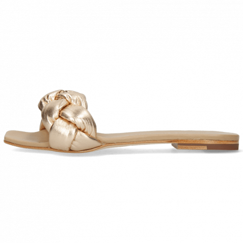 Mules Sandrine 3 Nappa Nude Gold Footbed