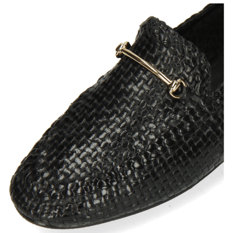 Mocassins Aviana 1 Woven Black Trim Gold