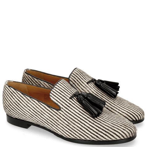 Mocassins Scarlett 20 Hairon Stripes Black White