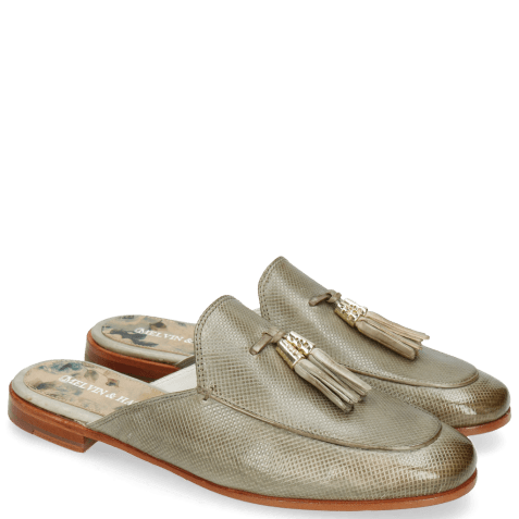 Mules Scarlett 2 Vegas Dice Light Grey Tassel