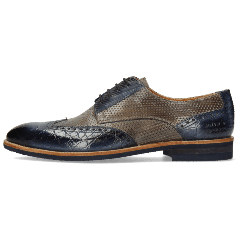 Derbies Bobby 1 Croco Marine Alcohol Finishing Perfo Grigio