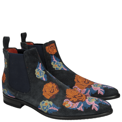 Bottines Toni 7 Suede Navy Embroidery Orange Blue Multi Modica Dark Grey