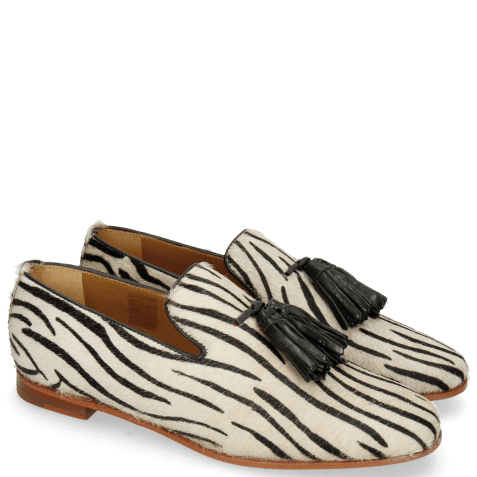 Mocassins Scarlett 20 Hairon Young Zebra Black Tassel