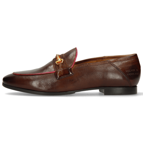 Mocassins Scarlett 45 Pisa Mid Brown Binding Fuxia