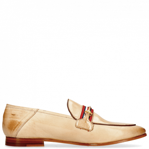 Mocassins Scarlett 45 Glove Nappa Ivory Binding Tan Trim Gold