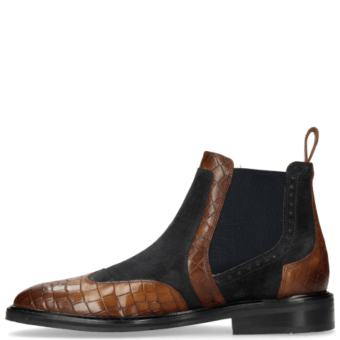 Bottines Logan 2 Venice Crock Mid Brown Suede Pattini Perfo Navy
