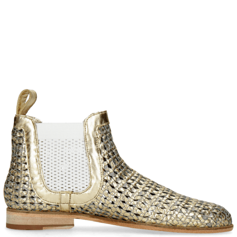 Bottines Susan 10 Woven Sky Gold Elastic White