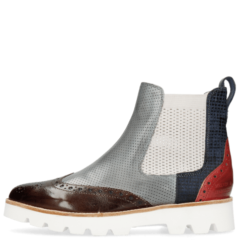 Bottines Selina 29 Pisa Mid Brown Perfo Clear Water Textile Dots Blue Ruby