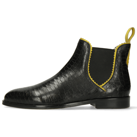 Bottines Susan 67 Big Croco Black Binding Fluo Yellow