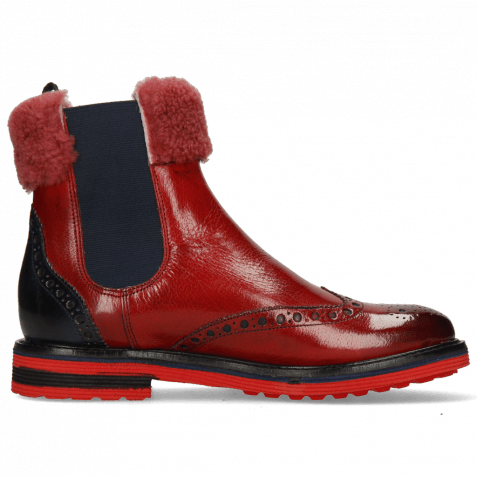 Bottines Amelie 63 Ruby Navy Collar Fur