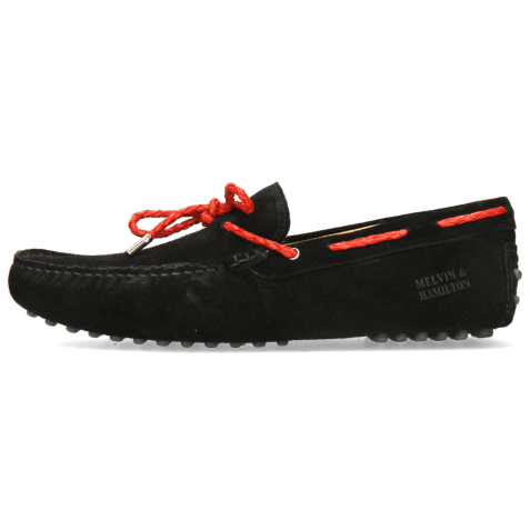 Mocassins Nelson 3 Suede Pattini Black Woven Red