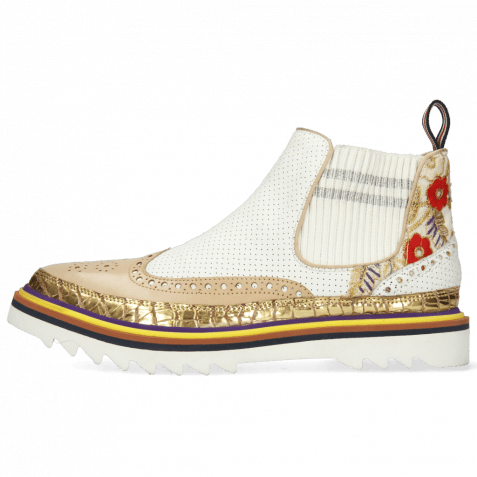 Bottines Lena 4 Grazli Gold Nude Rio Perfo White Brocade