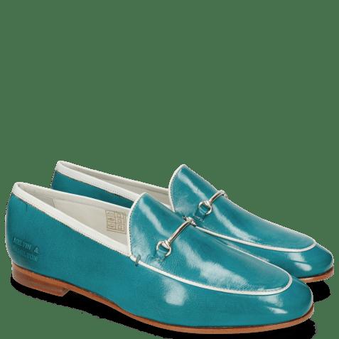 Mocassins Scarlett 47 Pisa Turquoise Nappa Binding White Trim Gold