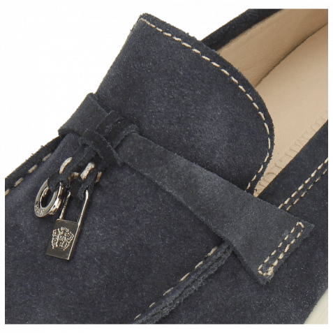 Mocassins Earl 3 Suede Pattini Navy Stitching Natural