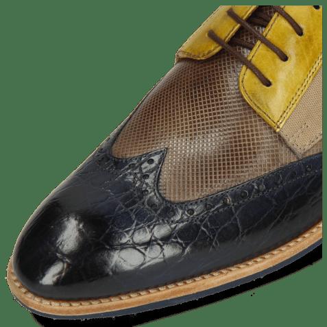 Derbies Bobby 1 Croco Marine Imola Dice Chestnut Vegas Olivine Textile Indonesia