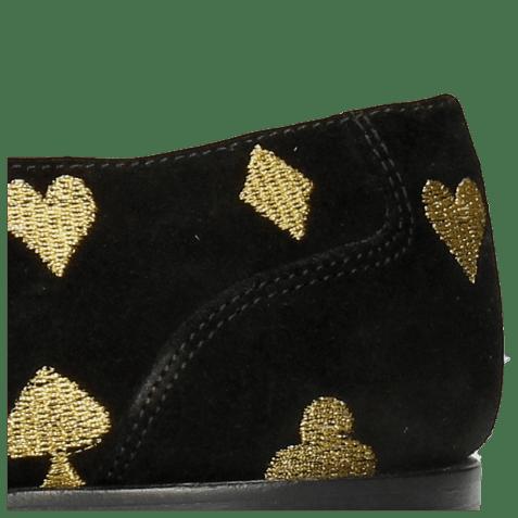 Derbies Toni 1 Suede Black Embroidery Heartpeak
