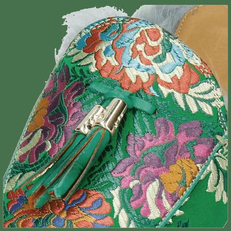 Mules Scarlett 2 Korela Green Fur Lining Turquoise Tassel Green Orange