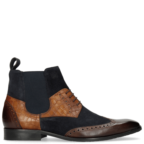 Bottines Rico 23 Rio Mogano Suede Pattini Navy Venice Crock Wood