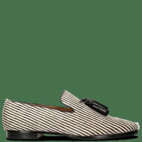 Mocassins Scarlett 20 Hairon Stripes Black White