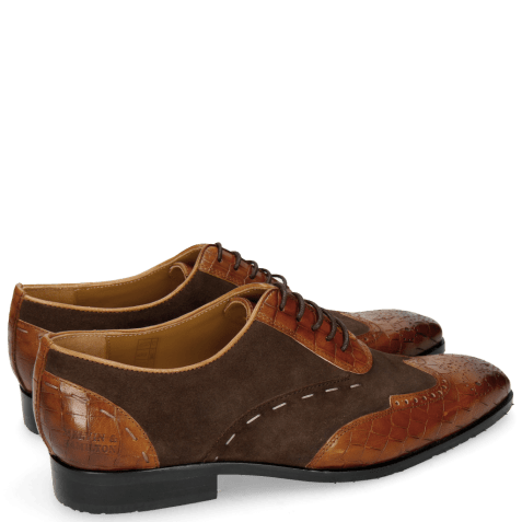 Richelieu Rico 18 Venice Crock Wood Suede Pattini Dark Brown
