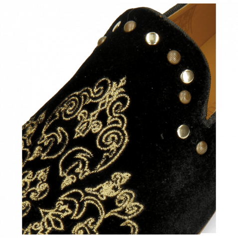 Mocassins Clive 14  Velluto Black Embroidery Ethnic Gold