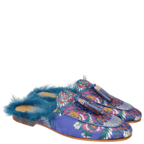 Mules Scarlett 2 Korela Electric Blue Fur