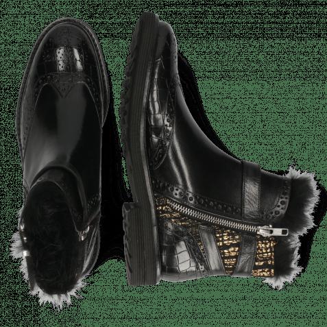 Bottines Amelie 67 Crock Black Textile Tweed Black Gold