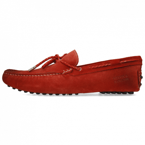 Mocassins Nelson 3 Suede Dark Red Laces Woven