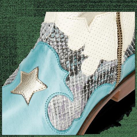 Bottines Marlin 12 Vegas Mermaid Snake Turquoise Perfo White Heart