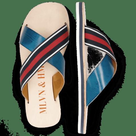 Mules Sam 5 Mid Blue Strap Red Blue White