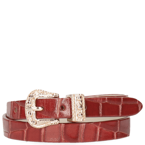 Bracelets Ines 1 Crock Red Buckle Rose Gold