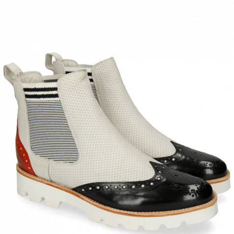 Bottines Selina 29 Black Fiesta Nappa Perfo White Elastic Oxford