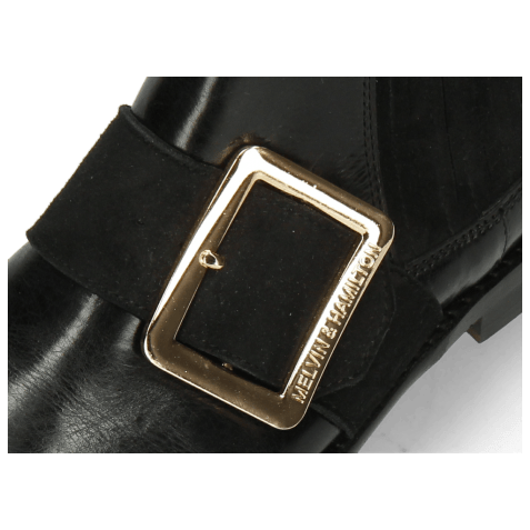 Bottines Selina 46 Black Suede Strap Gold