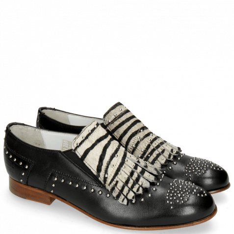 Mocassins Sally 95 Glove Nappa Black Hairon Young Zebra