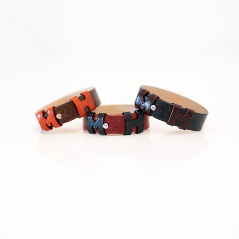 Bracelets Archie 1 Tan Loops Orange Studs Rose Gold