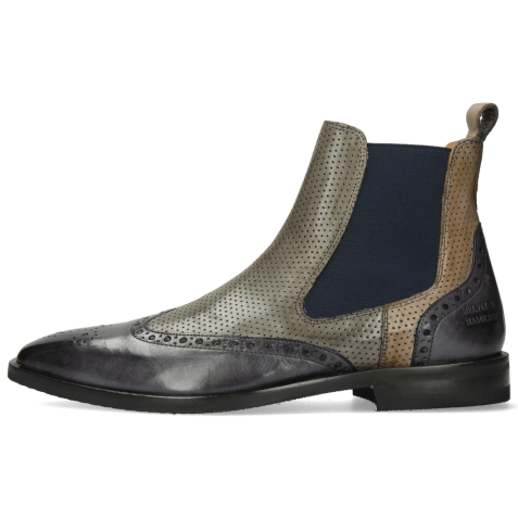 Bottines Alex 9 Berlin Navy Perfo Smoke Grigio