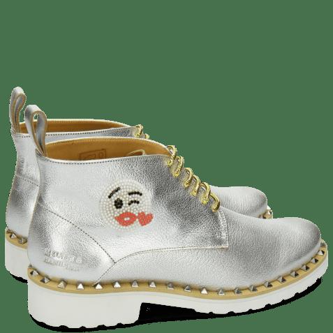 Bottines Bonnie 9 Cherso White Silver Emoji Kiss